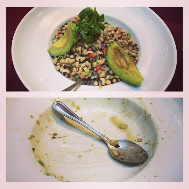 A before & after of the African Black Eye Salad.